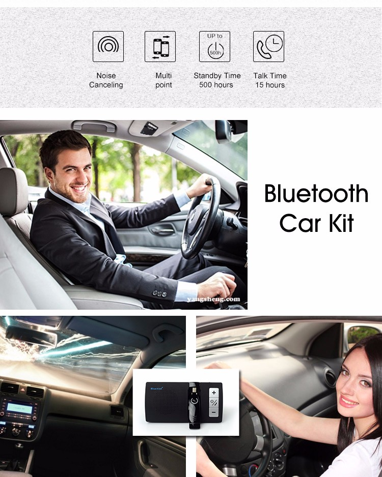 Voice Clearly Light Weight Rechargeable Noise Cancelling Bluetooth Car Kit