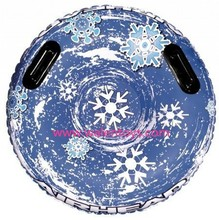 Inflatable Round Air snowflake Snow Tube Sled for one riders on Sledding Hill