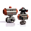 DN40 T type KLQD brand pneumatic operated stainless steel 3 way pneumatic control valve