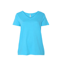 2017 New Design Light Blue Girls Short Sleeves Dyed Cotton Tee Shirts