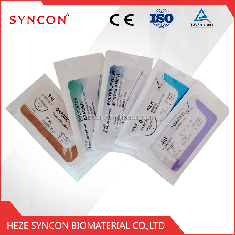 Catgut/PGA/PDO/Nylon/Silk Surgical Suture with Sharp Needle