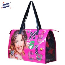 Custom logos eco-friendly recycled pet bottle fabric rpet bag with zipper