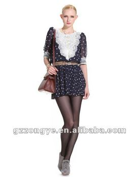 paypal accept Clothing factory medium sleeve mini chiffon polka dot transparent dress OEM supply manufacturer