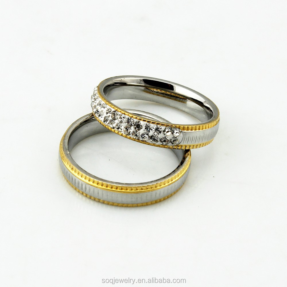 Unique <strong>Diamond</strong> Two Tone Stainless Steel Wedding Band Lovers Rings Pair for Couple