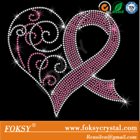 Breast cancer rhinestone transfer, awareness ribbon hot fix motifs, rhinestone iron on transfer wholesale