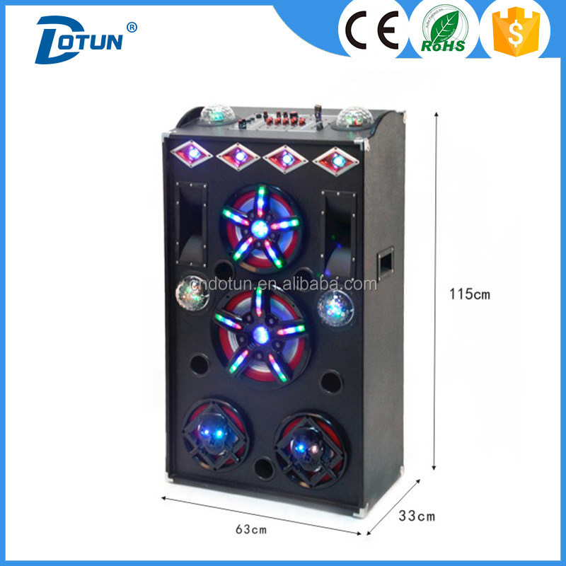 Power amplifier professional stage dj speakers with disco light