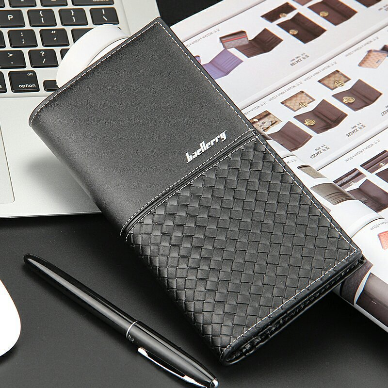 European fashion business lattice Baellerry purse casual men's long black plaid wallet