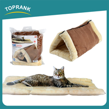 2 in 1 folding pet mat winter warm soft plush cat tunnel bed