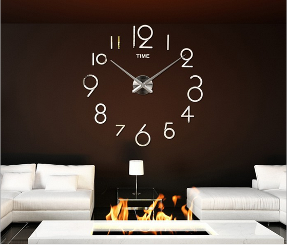 DIY Love Heart Sticker Acylic Removable Wall Clock Smart Decorative Big Number Clock