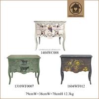 Retro Wooden Chest Antique Painted Cabinet Vintage Home Decoration Furniture