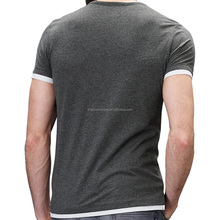 2017 Fashional contrast ribbed trims gray t shirt soft-touch jersey tipped T-shirts v-neck
