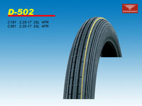 Front tire for motocycle with linear pattern