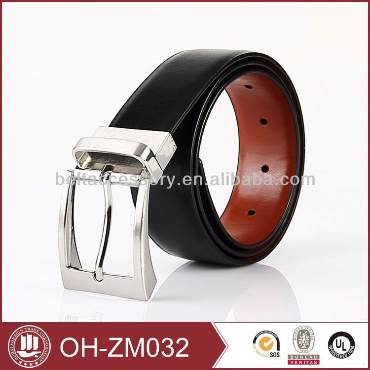Rotation buckle slim belt leather
