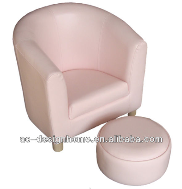 CREAM PVC/WOODEN KID ONE SEAT SOFA W/OTTOMAN