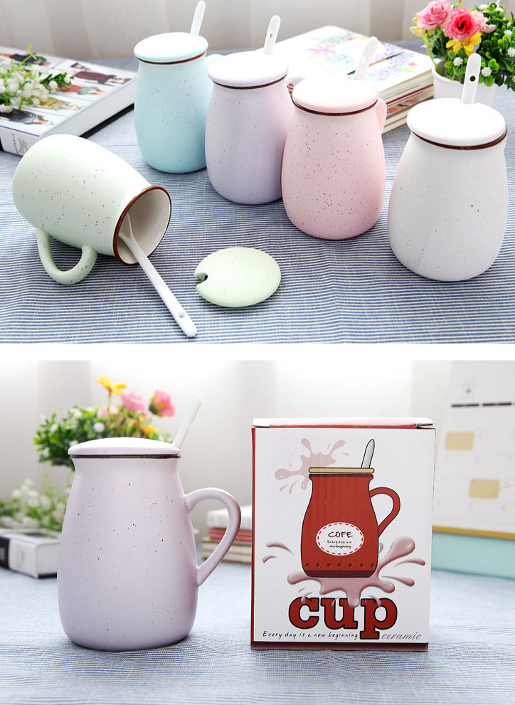 High Quality Solid Color Ceramic Coffee Mug With Spoon