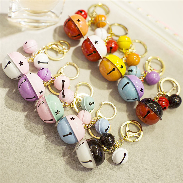 Keychain Car Bells Cute White blue color Key Chain Rings For Handbag cute gift