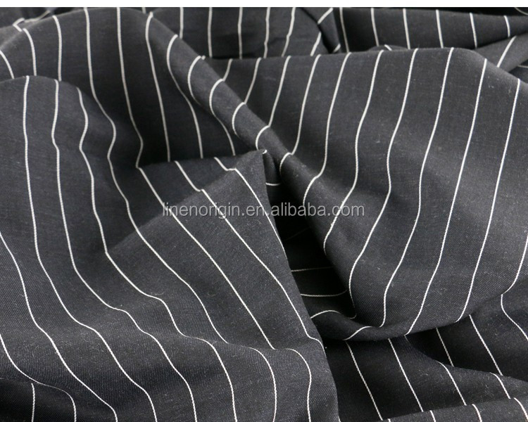 yarn dyed linen cotton stripe fabric for ladies garment