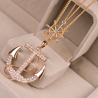 BLS165 New arrival Navy Crystal Rhinestone Anchor Rudder Pendant Long Chain Sweater Necklace Personality For Women