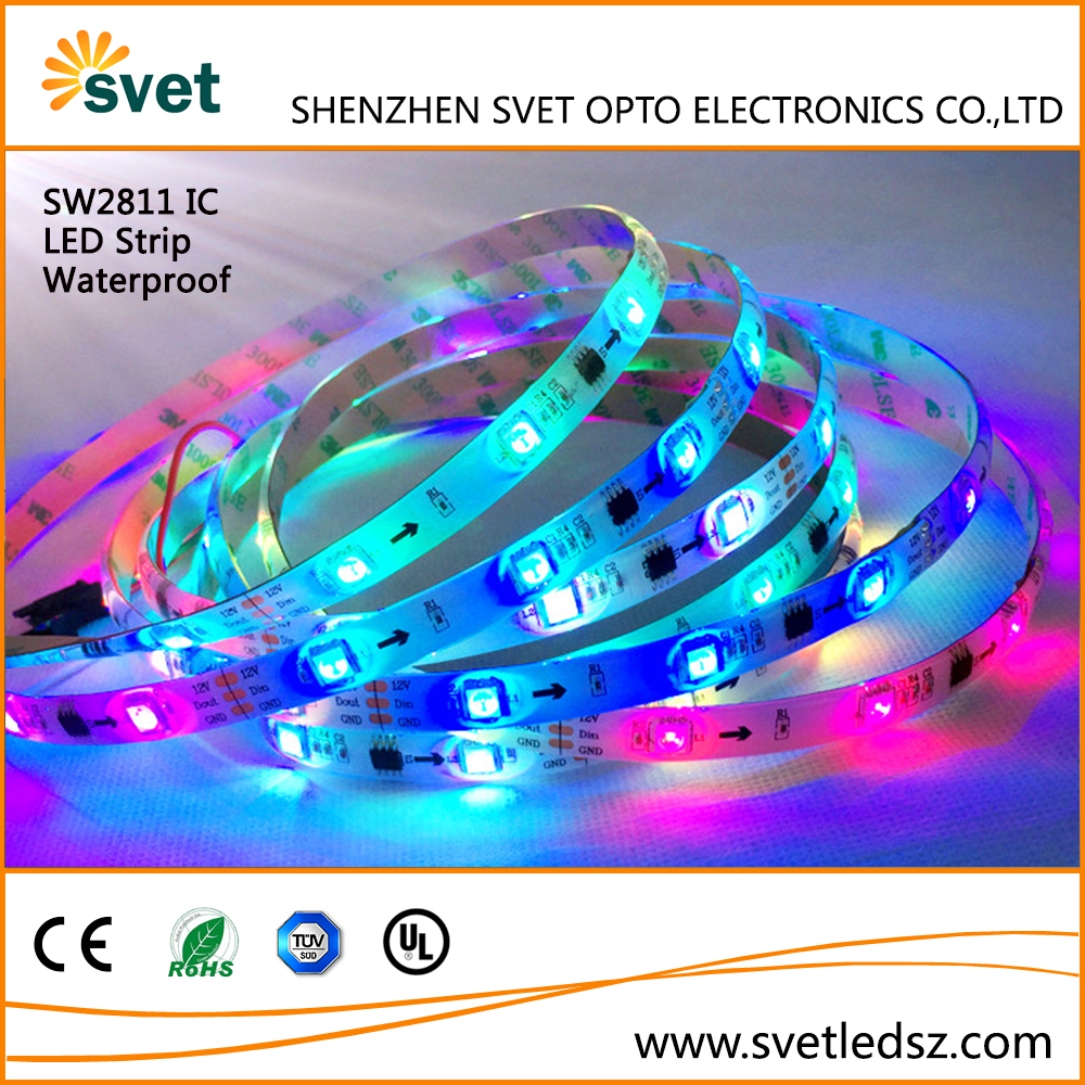 SVET 5M Waterproof 5050 SMD RGB LED Flexible Strip WS2811 Black PCB Board Colour Changing Decoration Lights 150 LEDs Kit IP65