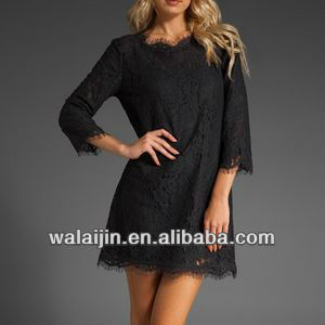 Fashion ladies scollop lace hem dongguan clothing