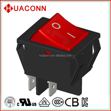 power 4 pin/terminals on-off dpdt red rocker switch with lightT85 16A 250V cUL KC VDE certificate