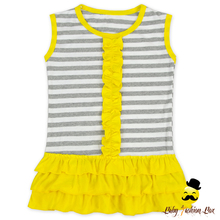 India Boutique Clothing Summer Stripe Yellow Ruffle Girl Outfits Wholesale Girl Outfits Clothing Set