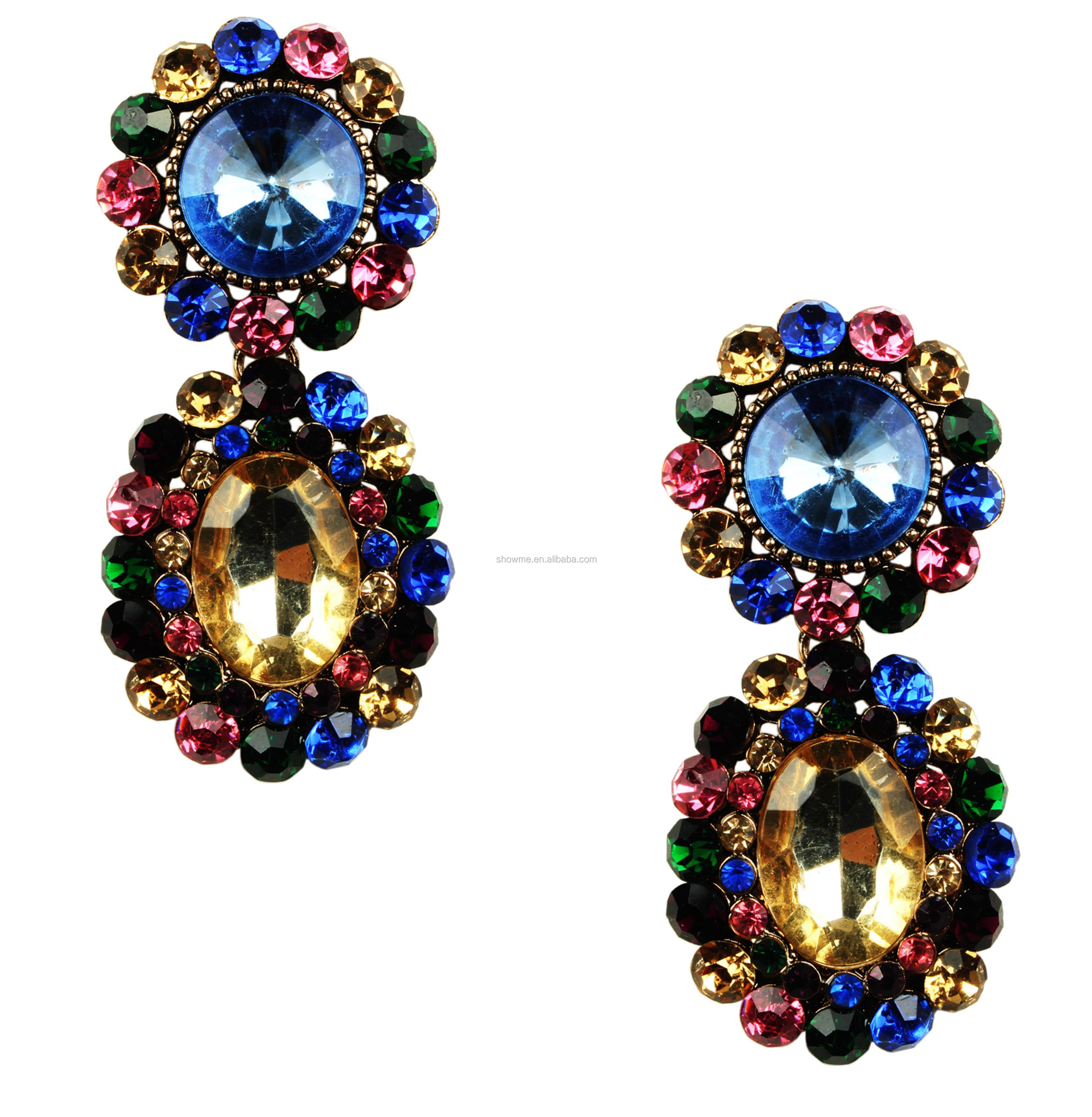 Factory own design colored drop earrings, costume colored earrings, color jewelry earring wholesale