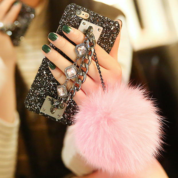 2017 New Fur ball luxury shell diamond bracelet Case Back Cover for iphone7/ 7plus/6s/6 plus