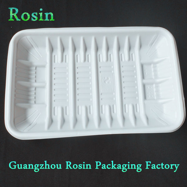 Black white disposable plastic fish, chicken, meat packing tray