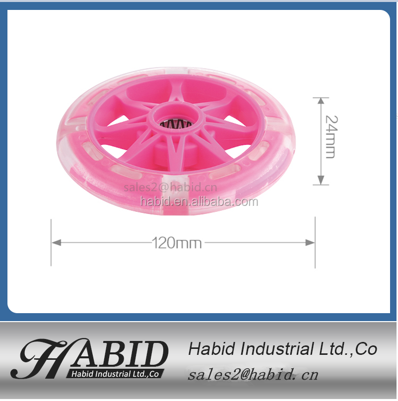 High performance PU light up Inline roller Skate Wheels 76mm with 608zz bearing for skateboard