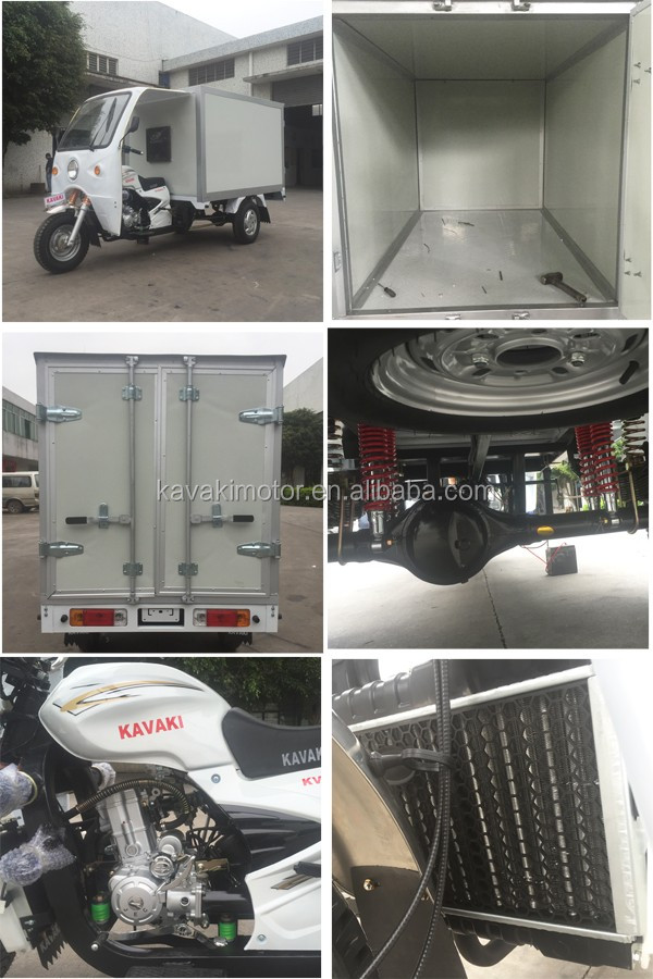 200CC Lifan water cooled engine three wheel close cargo tricycle