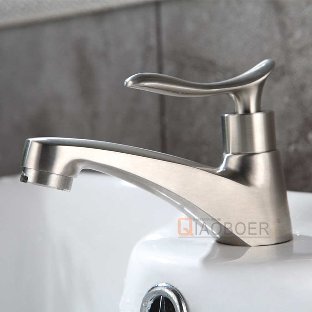 Alibaba manufacturer nickel brushed brass single hole bathroom lavatory faucets