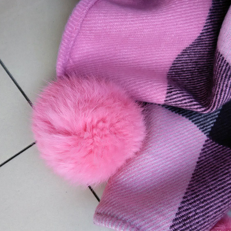 Luxury spring/winter warm scarf adults fashion fur pom pom scarf