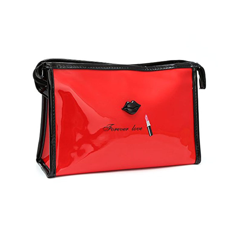 Makeup Bag with Zipper for Women Lip Print Travel Casual Handbag Pouch