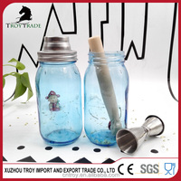 airtight blue color glass mason jar shaker with stainless steel cap lid