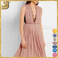 SHANGYI latest dress designs for woman, fashion ladies pleated dress, summer floral beach dress