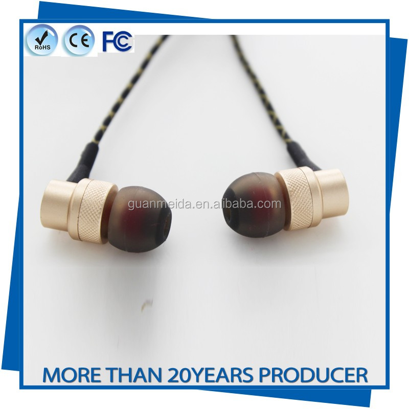 Top-quality Metal Headphone Heavy Bass Stereo Earbuds with Mic for Audiophile