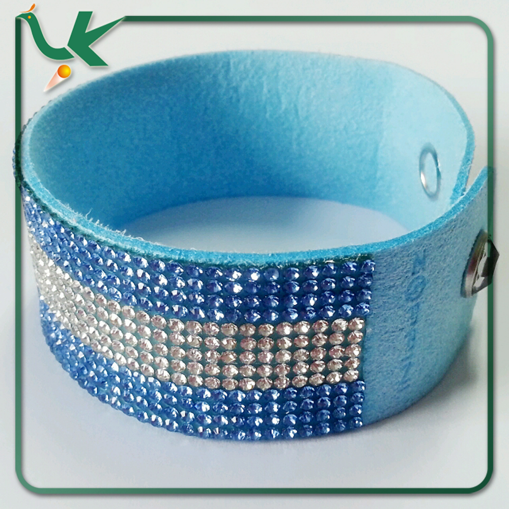 Bling Bling Style Shiny Crystal Rhinestone on Korean Velvet Leather with Button Clasp Argentina Flag Bracelet