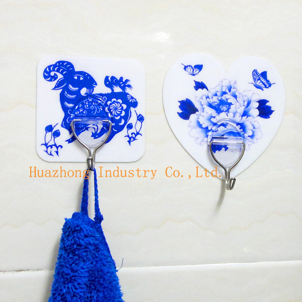 Blue and white porcelain magic adhesive hooks