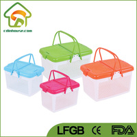 Plastic Picnic Basket Set with Lid