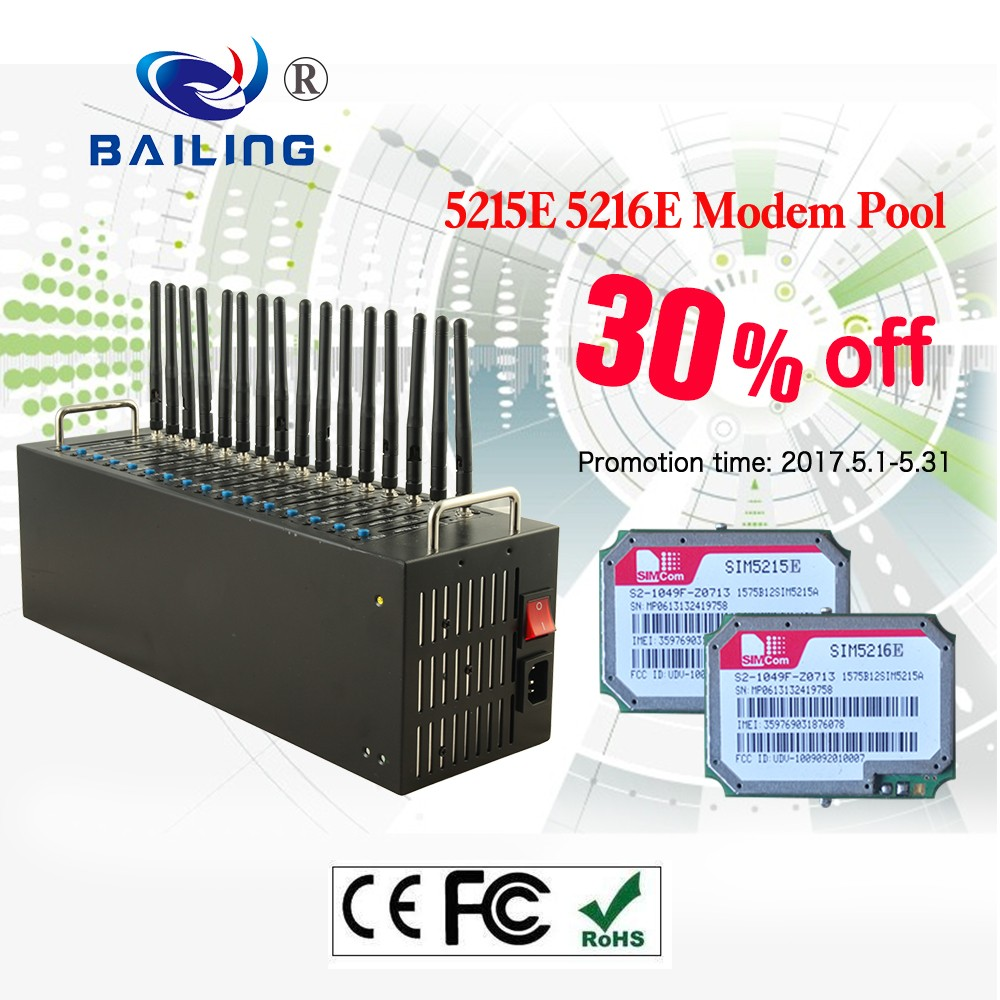 Big discount 30% 16 port sms modem pool sim5215E sim5216E 3g usb modem