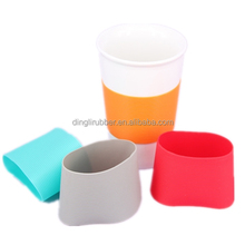 Customized Silicone glass coffee cup Sleeve Coat Cover
