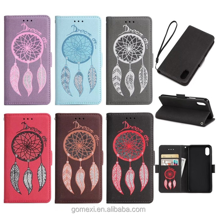 Wind Chimes PU Card Slot Leather Wallet Case For iPhone8, Stander Holder Mobile Phone Case For iPhone8