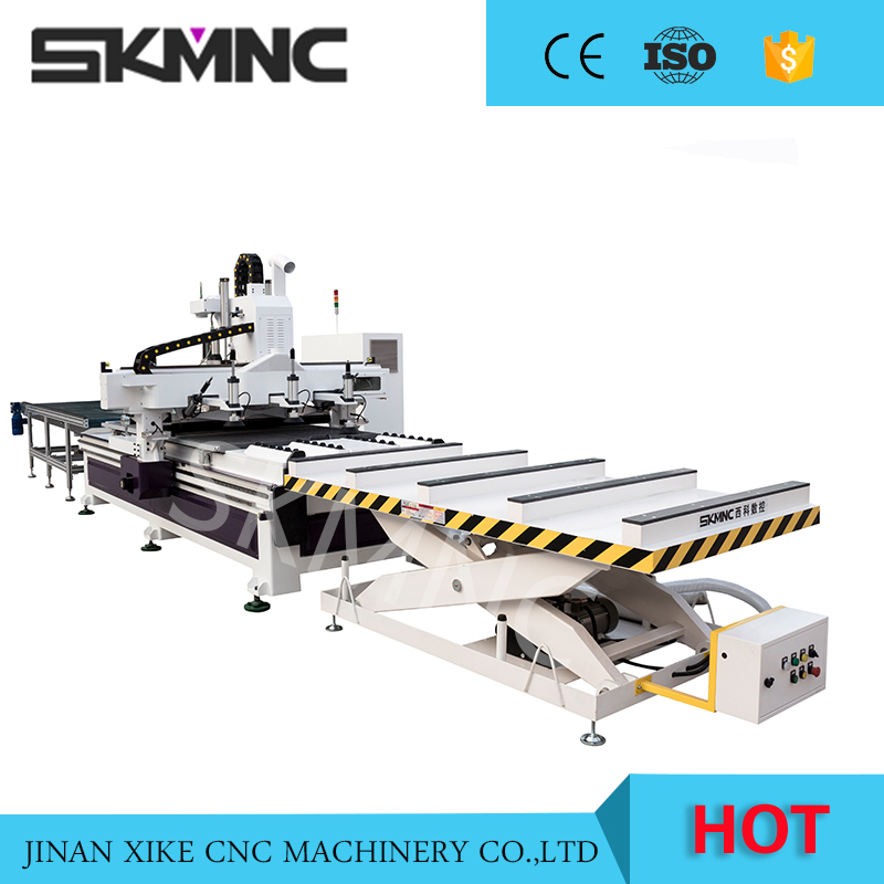 SKMNC Automatic Uploading And Loading CNC Router Four Process For Custom Wood Furniture And Cabinet