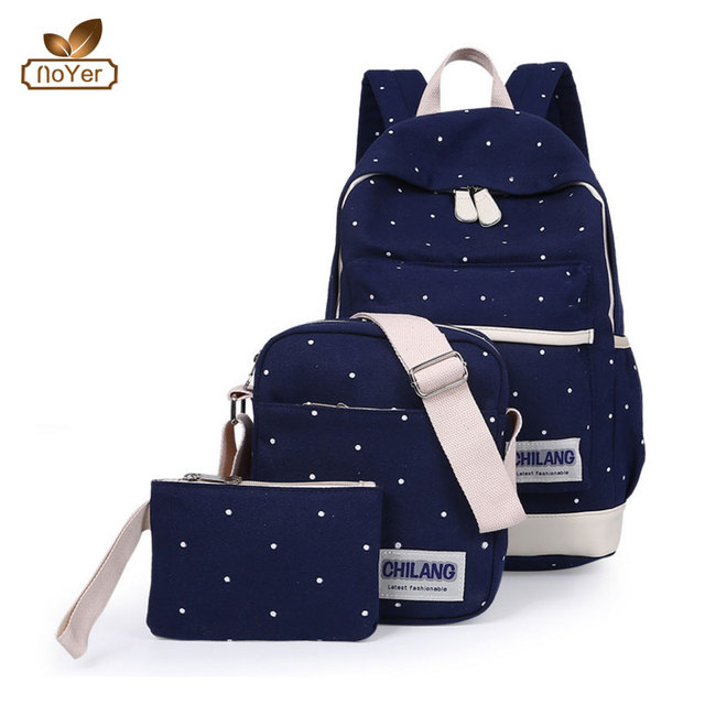 Fashion student canvas rucksack backpack with cosmetic bag 3pcs school backpack sets