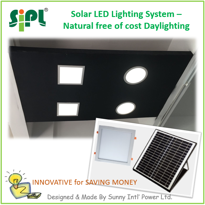 SUNNY SOLAR SKYLIGHT Ceiling Roof Mounted Day Time Running LED Panel <strong>Light</strong> Home Use Square Shape Indoor Solar <strong>Light</strong>