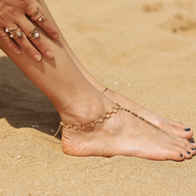 Fashion Beads Anklets Round Circle Chain Foot Jewelry Vintage Gold Beach Anklet