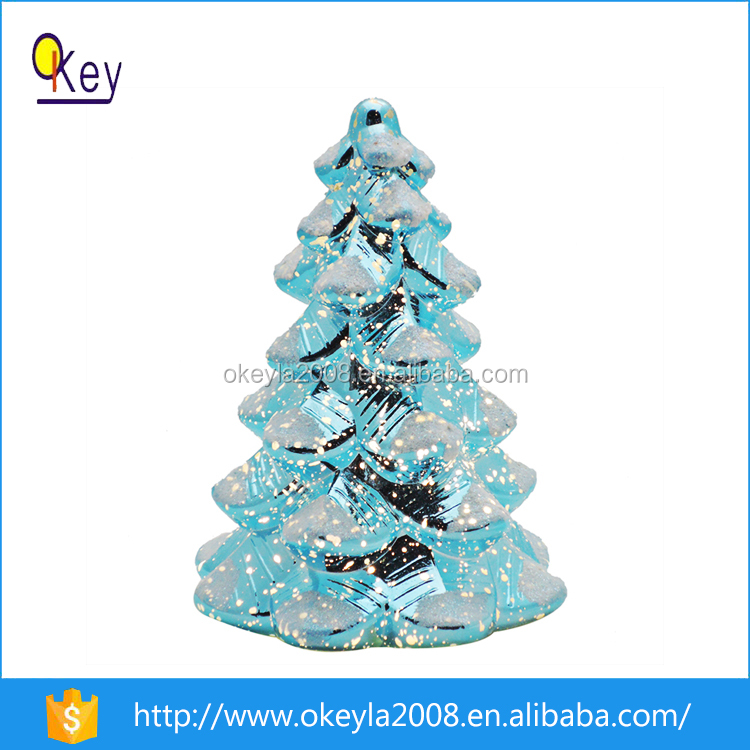 2016 newest 26cm artificial led glass christmas mercury tree ornaments