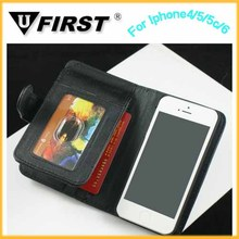 PU leather case for iphone5 5G,wallet with stand filp cover,5.5 inch mobile phone case