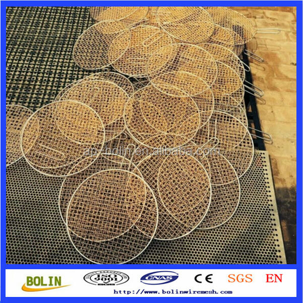 Round copper bbq grill mesh with handle(Factory)